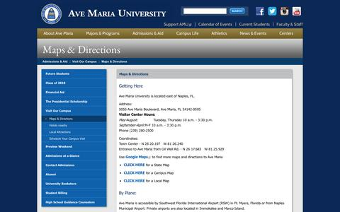 Screenshot of Maps & Directions Page avemaria.edu - Ave Maria University > Admissions & Aid > Visit Our Campus > Maps & Directions - captured Nov. 4, 2014