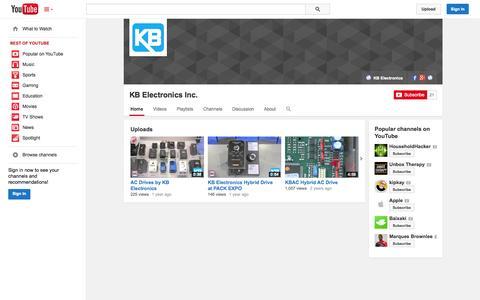 Screenshot of YouTube Page youtube.com - KB Electronics Inc.  - YouTube - captured Oct. 23, 2014