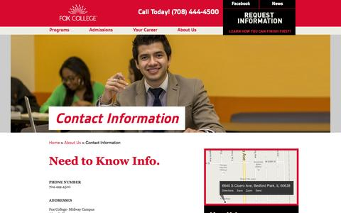 Screenshot of Contact Page foxcollege.edu - Fox College: Contact Information - captured Sept. 30, 2014