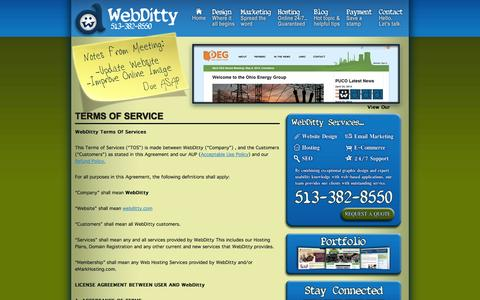 Screenshot of Terms Page webditty.com - Terms of ServiceWeb Ditty - Web Ditty - captured Oct. 7, 2014