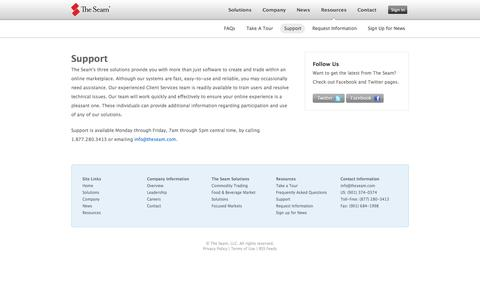 Screenshot of Support Page theseam.com - The Seam - Resources - Support - captured Oct. 9, 2014