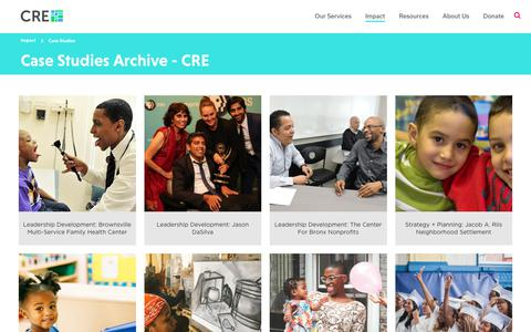 Screenshot of Case Studies Page crenyc.org - Case Studies Archive - CRE - captured Sept. 29, 2018
