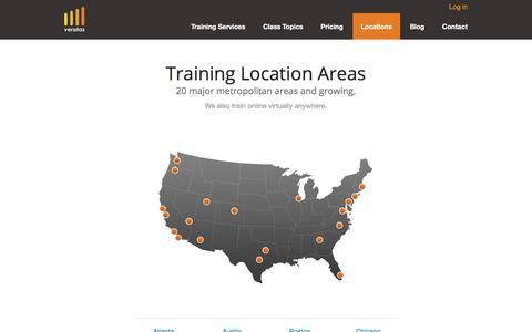 Screenshot of Locations Page versitas.com - Locations We Serve - Versitas Software Training - captured Sept. 20, 2018