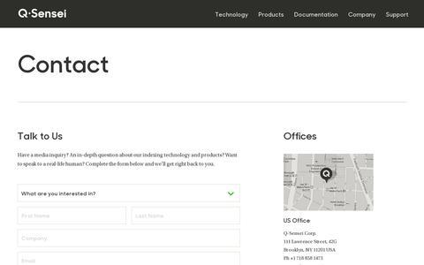 Screenshot of Contact Page qsensei.com - Contact — Q-Sensei - captured July 18, 2014