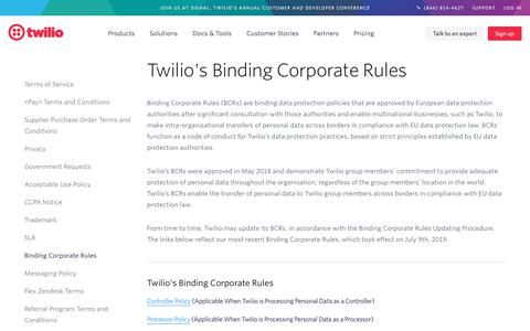Screenshot of Terms Page twilio.com - Twilio's Binding Corporate Rules - Version 2 - captured Nov. 28, 2019