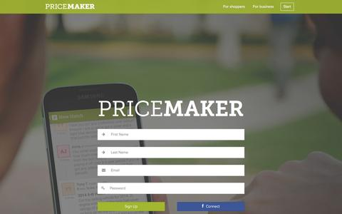 Screenshot of Signup Page pricemaker.co.nz - Connect with your local businesses - Pricemaker - captured Dec. 12, 2015