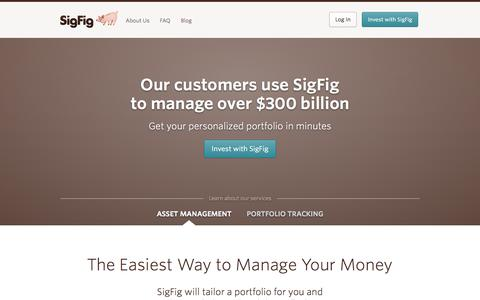 Screenshot of Home Page sigfig.com - SigFig - The easiest way to manage & improve your investments | Free online personal finance investment software - captured Sept. 17, 2014