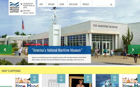Screenshot of Home Page mariner.org - The Mariners' Museum and Park - America's National Maritime Museum - captured Jan. 27, 2015