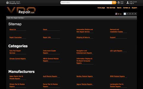 Screenshot of Site Map Page vdorepair.com - VDORepair Instrument Cluster, MID, Navigation Repair Service  > Sitemap - captured Oct. 7, 2014