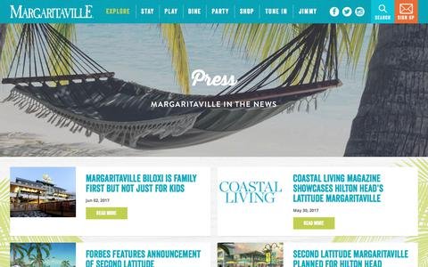 Screenshot of Press Page margaritaville.com - Press | Jimmy Buffett's Margaritaville - captured June 9, 2017
