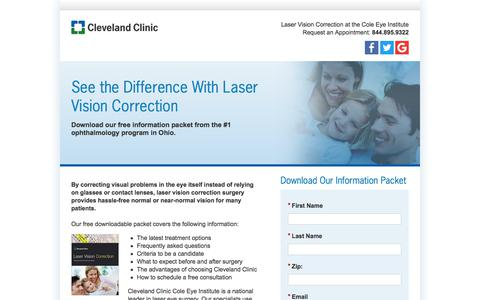 Screenshot of Landing Page clevelandclinic.org - Laser Vision Correction, LASIK Surgery, Laser Eye Surgery iLASIK, Custom Cornea and IntraLase Treatment | Cleveland Clinic - captured July 2, 2017