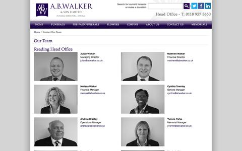 Screenshot of Team Page abwalker.co.uk - Contact Our Team  | Funeral Directors | Funerals - A.B. Walker & Son Ltd - captured Oct. 3, 2014