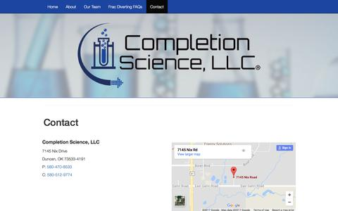 Screenshot of Contact Page completionscience.com - Contact - Completion Science, LLC® - captured Aug. 17, 2017