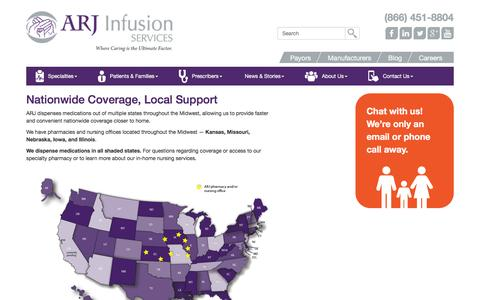 Screenshot of Locations Page arjinfusion.com - Service Locations - ARJ Infusion Services - captured Nov. 19, 2016