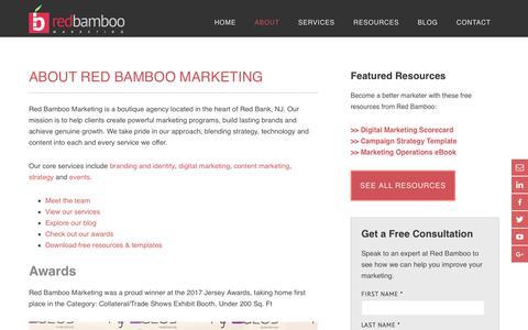 Screenshot of About Page redbamboomarketing.com - About Red Bamboo Marketing | NJ Marketing Agency - captured Nov. 21, 2017