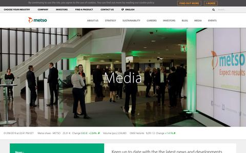 Screenshot of Press Page metso.com - Media - Metso - captured Jan. 9, 2019