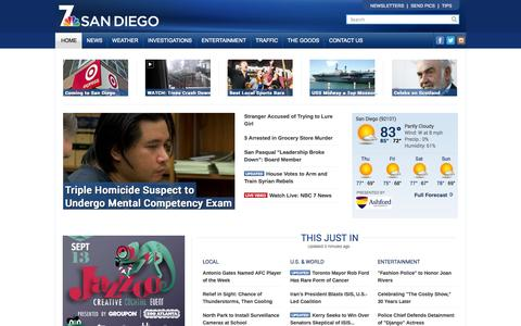 Screenshot of Home Page nbcsandiego.com - San Diego News, Local News, Weather, Traffic, Entertainment, Breaking News - captured Sept. 18, 2014