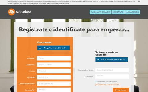 Screenshot of Signup Page spacebee.com - Spacebee | Regístrate o identifícate para empezar... - captured Nov. 7, 2018