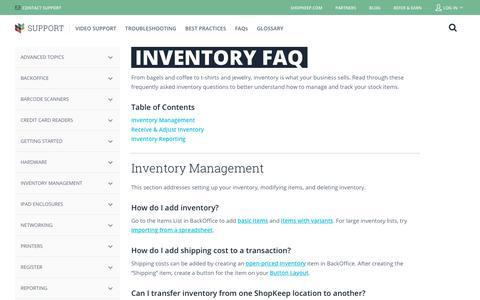 Screenshot of FAQ Page shopkeep.com - Inventory FAQ | ShopKeep Support - captured Dec. 30, 2017