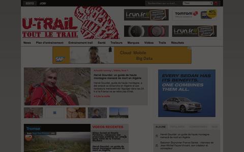 Screenshot of Home Page u-trail.com - U-trail | tout le trail et tout l'ultra-trail ! - captured Sept. 23, 2014