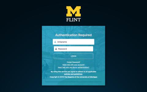Screenshot of Login Page umflint.edu - Weblogin | University of Michigan-Flint - captured Oct. 14, 2019
