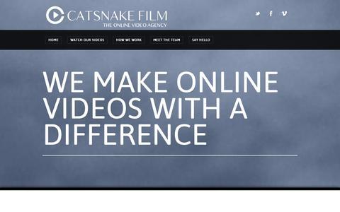 Screenshot of Home Page catsnake.com - Catsnake Film | Online Video Marketing Agency - captured Oct. 2, 2014