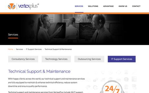 Screenshot of Support Page vertexplus.com - Technical Support Maintenance - VertexPlus - captured March 4, 2018