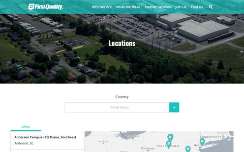 Screenshot of Locations Page firstquality.com - First Quality | Locations - captured Oct. 10, 2018