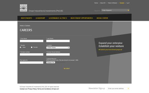 Screenshot of Jobs Page eii.ae - Careers - Emaar Industries & Investments - captured Oct. 2, 2014