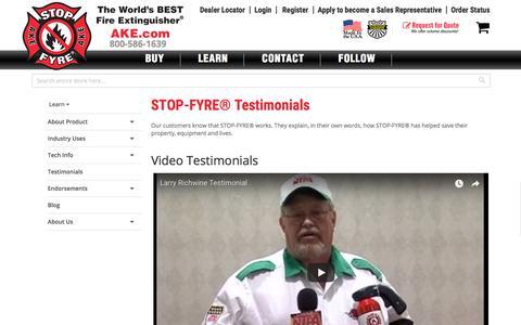 Screenshot of Testimonials Page ake.com - Customer Reviews - captured Oct. 6, 2017