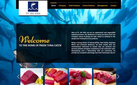 Screenshot of Home Page tunacatch.com - Home Of Fresh Tuna Catch | SIG | Indonesia - captured Oct. 1, 2014