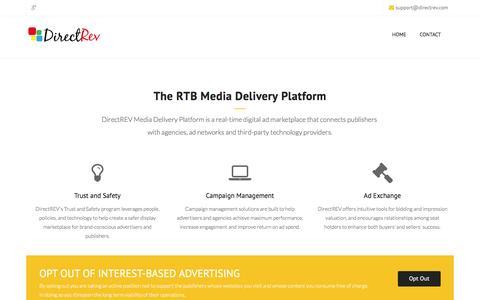 Screenshot of Home Page directrev.com - DirectREV - Media Delivery Platform - captured Aug. 1, 2016