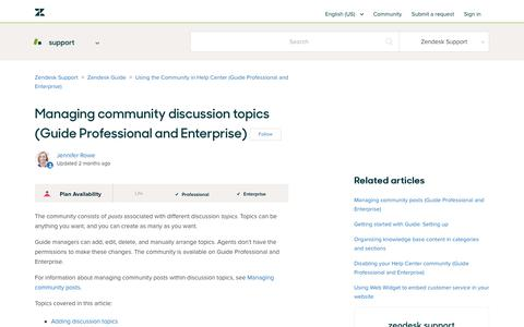 Screenshot of Support Page zendesk.com - Managing community discussion topics (Guide Professional and Enterprise) – Zendesk Support - captured Aug. 5, 2018
