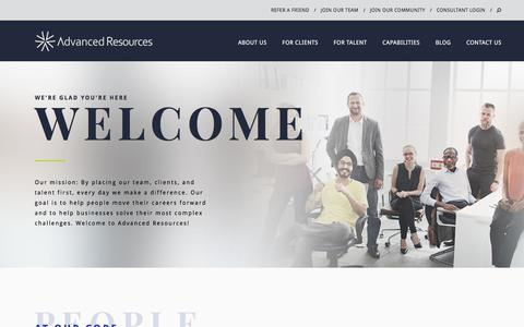 Screenshot of About Page advancedresources.com - About Us | Staffing & Consulting Services | Advanced Resources - captured May 22, 2018