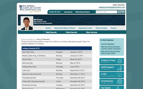 Screenshot of Hours Page baycoclerk.com - Hours of Operation | Bay County Clerk of Court & Comptroller - captured Oct. 30, 2014