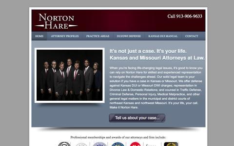 Screenshot of Home Page nortonhare.com - Norton Hare, L.L.C. Overland Park Attorneys Serving Kansas & Missouri - captured Aug. 14, 2016