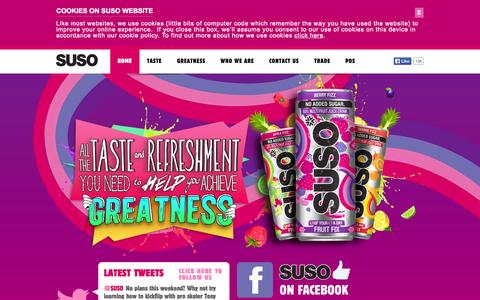 Screenshot of Home Page suso.co.uk - SUSO Drinks - captured Sept. 17, 2014