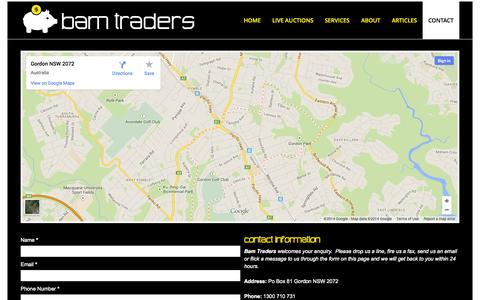 Screenshot of Contact Page bamtraders.com.au - Contact | bamtraders.com.au - captured Sept. 30, 2014