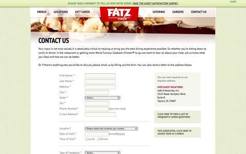 Screenshot of Contact Page fatz.com - FATZ | Contact Us - captured Oct. 5, 2014