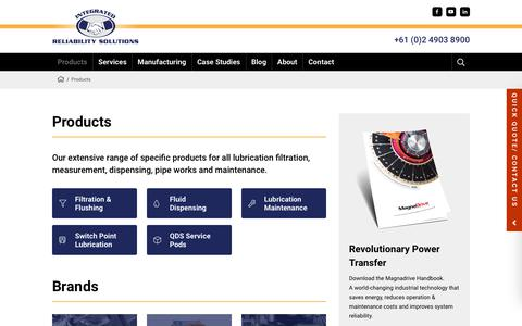 Screenshot of Products Page lubrication.com.au - Products » Integrated Reliability Solutions - captured Oct. 12, 2018
