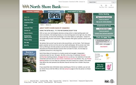 Screenshot of About Page banknorthshore.com - About Us – North Shore Bank of Commerce - captured Oct. 26, 2014