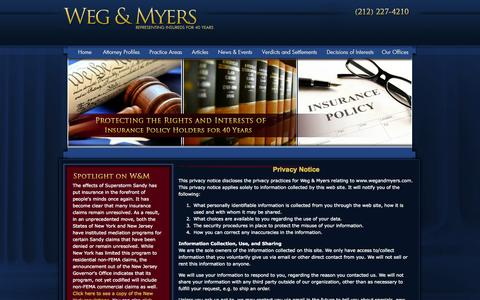 Screenshot of Privacy Page wegandmyers.com - Privacy Policy | New York Insurance Lawyer | Insurance Law Attorney - captured Oct. 7, 2014