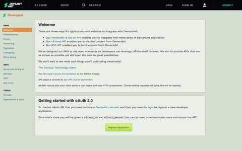 Screenshot of Developers Page deviantart.com - Developers | DeviantArt - captured July 30, 2019