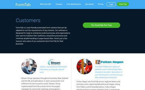 Screenshot of Case Studies Page formtabapp.com - Customers | FormTab App Reviews and Testimonials - captured Jan. 3, 2018