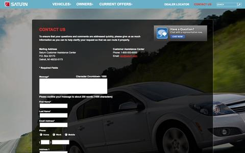 Screenshot of Contact Page saturn.com - Contact Information and Customer Service | Saturn - captured Sept. 22, 2014