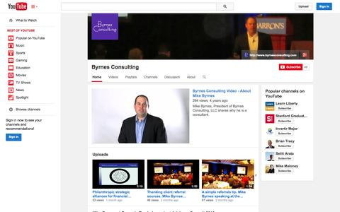 Screenshot of YouTube Page youtube.com - Byrnes Consulting  - YouTube - captured Oct. 23, 2014