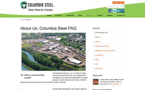 Screenshot of About Page columbiasteel.com - Columbia Steel FAQ   Columbia Steel Casting Co., Inc. - captured Nov. 13, 2019