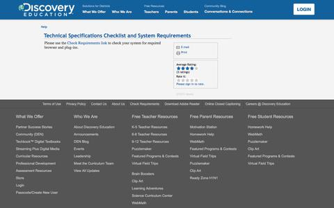 Screenshot of Support Page discoveryeducation.com - DE Help - Technical Specifications Checklist and System Requirements - captured Aug. 4, 2017