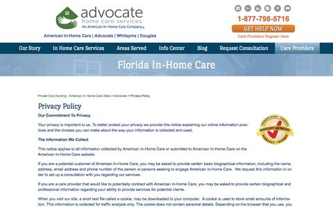 Screenshot of Privacy Page advocatehcs.com - Private Home Healthcare Agencies, Live In Elderly Care - American In-Home Care - captured Oct. 7, 2017