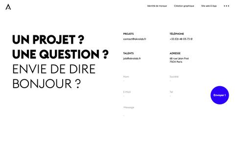 Screenshot of Contact Page akrolab.fr - Akrolab - Contact - captured Oct. 3, 2018